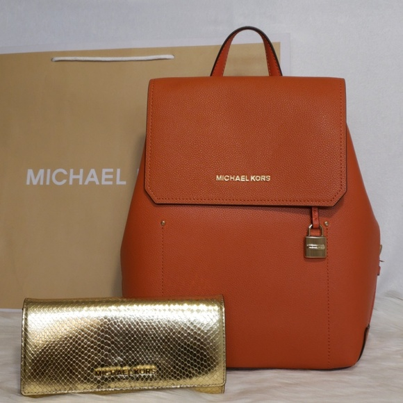 538988fcce37 Michael Kors Bags | Hayes Backpack In Persimmon | Poshmark